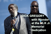 Dick Gregory and Stevie Wonder at the MLK Jr. Memorial dedication