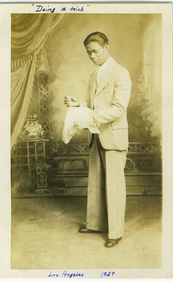 My dad doing a magic trick in L.A. 1927