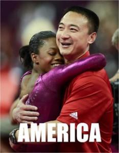 Gabby Douglas hugs coach Liang Chow