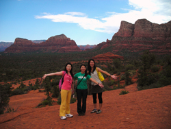 Japanese girls by Bryan's Tree on Bell Rock in Sedona, AZ