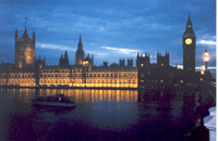 English Parliament at night