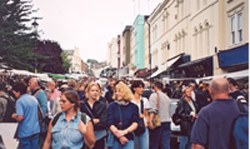 Crowds at the Portabello Road Market in the Notting Hill neighborhood