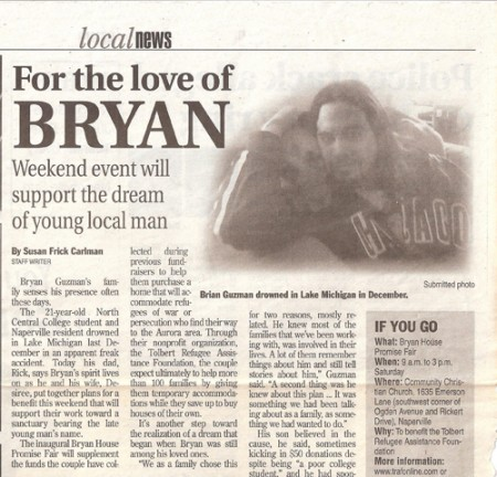 """For the love of Bryan"" as it appeared in the Naperville Sun"