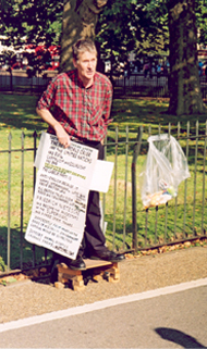 A speaker at Speakers Corner, London