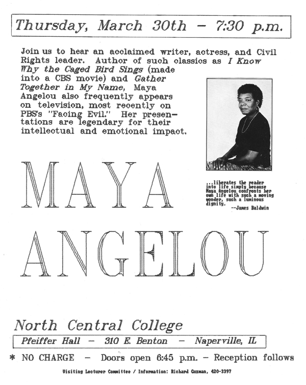 Flyer for the appearance of Maya Angelou at North Central College