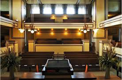 Interior of Frank Lloyd Wright's Unity Temple