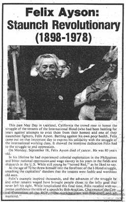 Felix Ayson tribute and obituary in The Worker