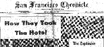 Front page of the SF Chronicle reporting on International Hotel evictions