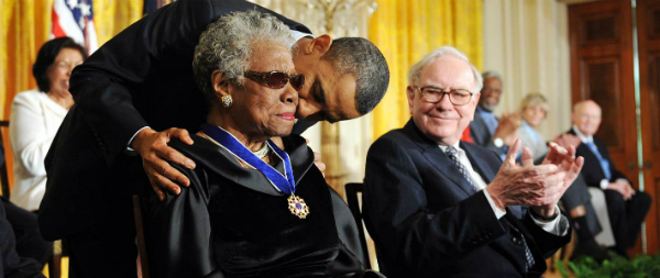 Maya Angelou receives Medal of Freedom from Barack Obama