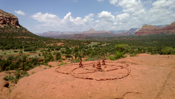 """Borromean Rings"" on Bell Rock in Sedona, AZ"