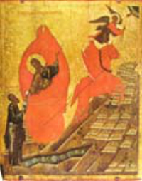 Elijah ascends to heaven in a chariot of fire.