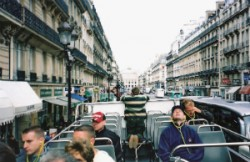 """Taking pictures on a Paris bus. """"Me in Paris. Who knew?"""" she kept saying."""