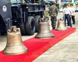 The Belangiga Bells arrive in the Philippines.