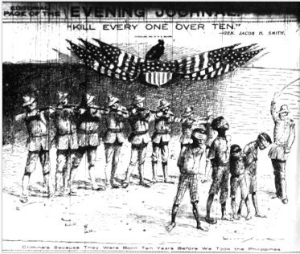 "New York Journal, May 5, 1902. A vulture replaces the bald eagle on American Shield. Bottom caption reads: ""Criminals Because They Were Born Ten Years Before We Took the Philippines"""
